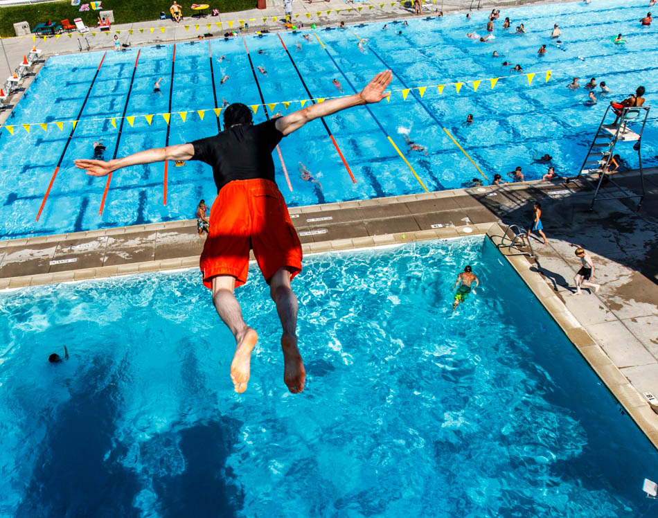 Enoch Foster dives off the platform, Cottonwood Heights Rec Center, Utah