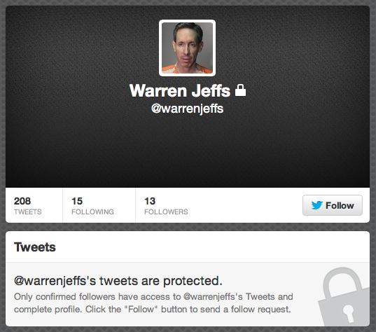 Warren Jeffs Twitter Account