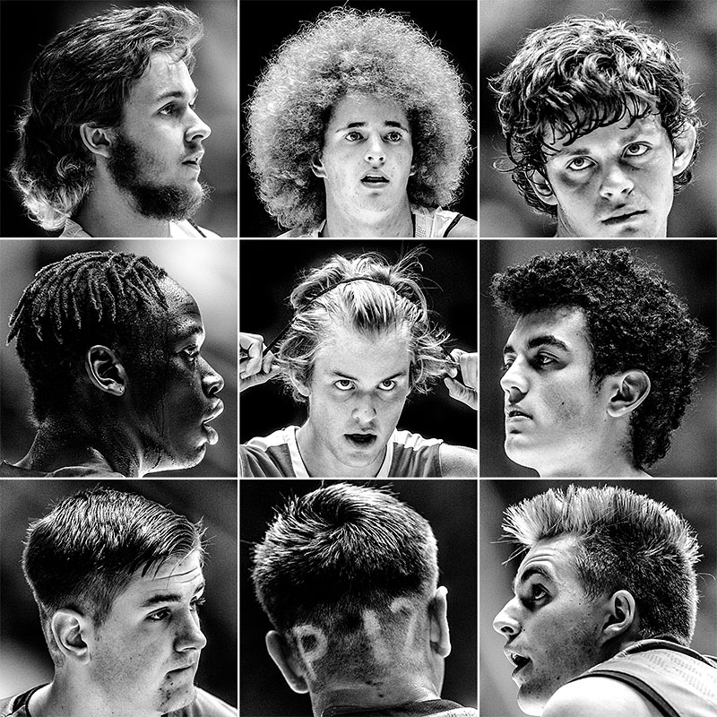 Current hairstyles for boys, as modeled by high school basketball players in Utah.