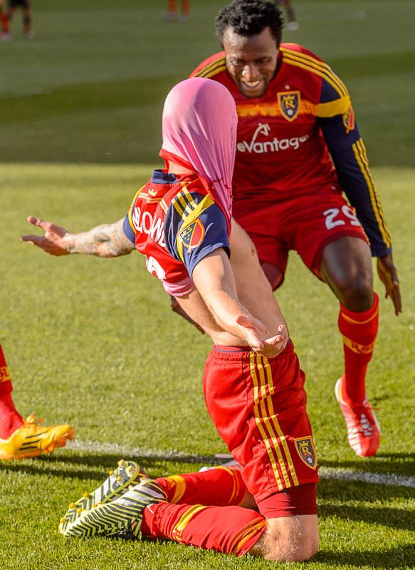 Luke Mulholland celebrates his first half goal
