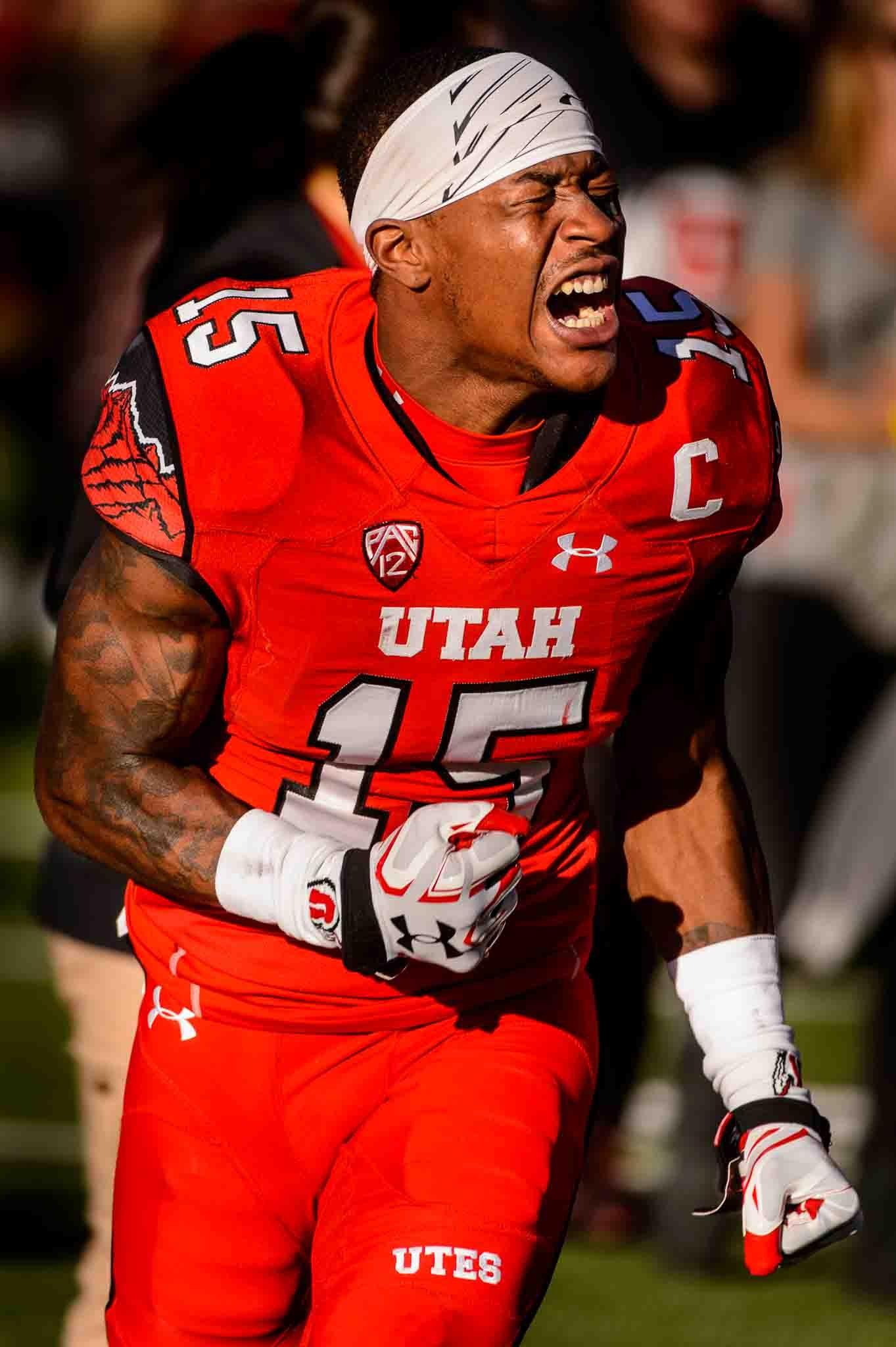 Utah Utes defensive back Dominique Hatfield (15) reacts to the loss as Utah hosts Oregon, NCAA football at Rice-Eccles Stadium in Salt Lake City