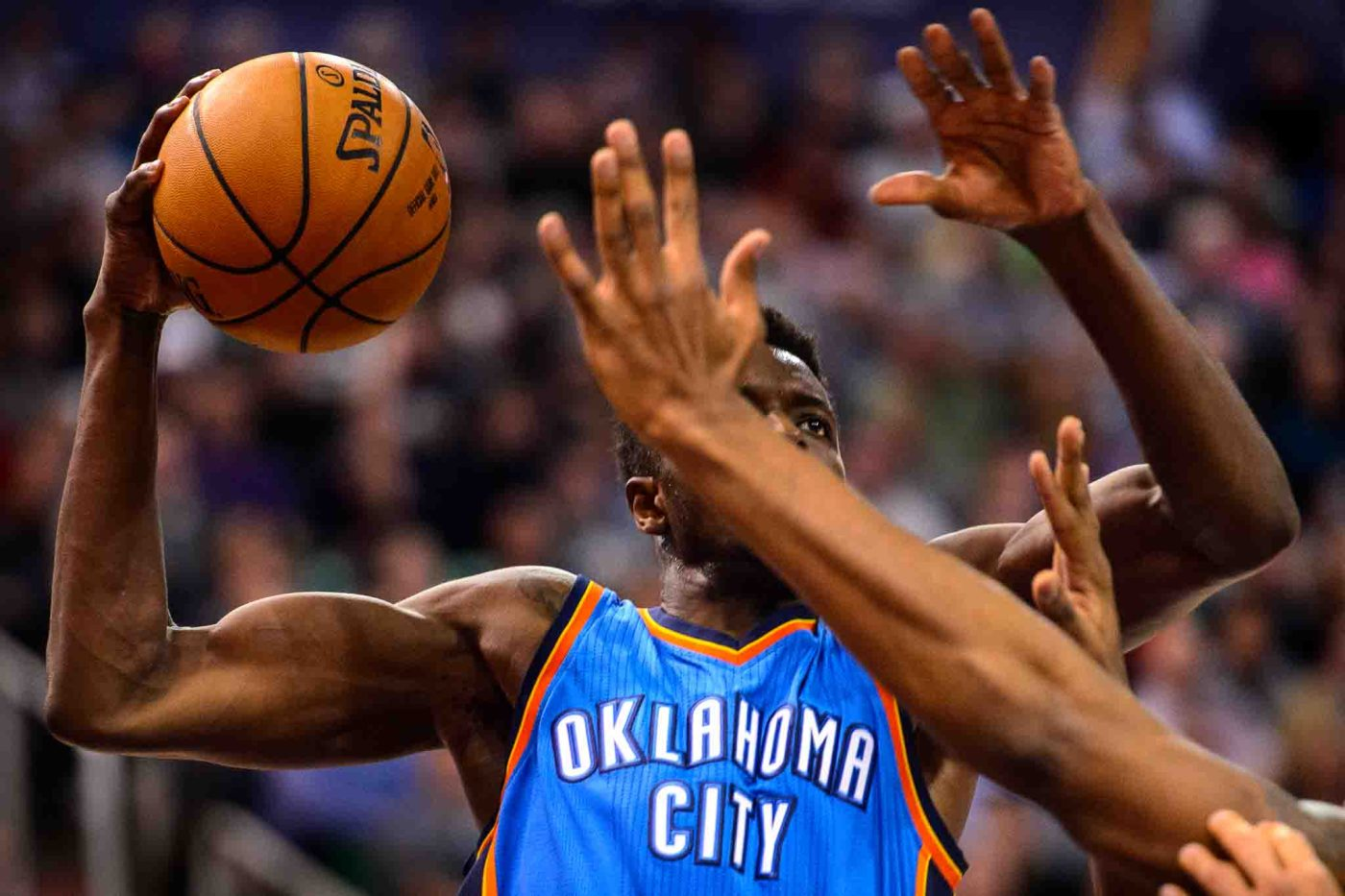 Oklahoma City Thunder forward Jerami Grant (9) goes up for a shot as the Utah Jazz host the Oklahoma City Thunder, NBA basketball in Salt Lake CityWednesday December 14, 2016
