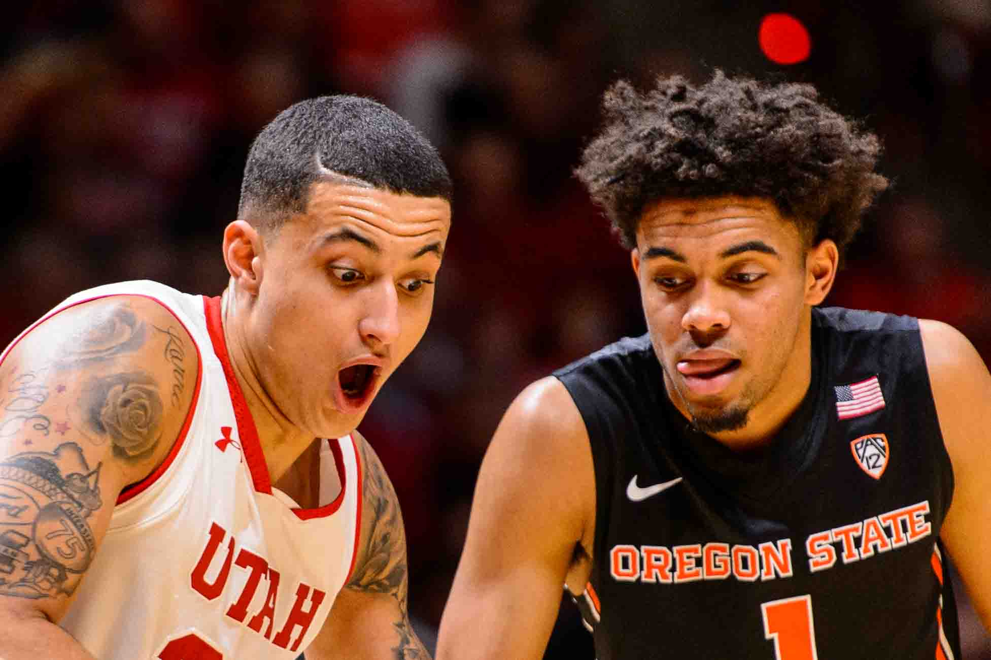 Utah Utes forward Kyle Kuzma (35) and Oregon State Beavers guard Stephen Thompson Jr. (1) fight for position as the University of Utah hosts Oregon State, NCAA basketball at the Huntsman Center in Salt Lake City, Saturday January 28, 2017.